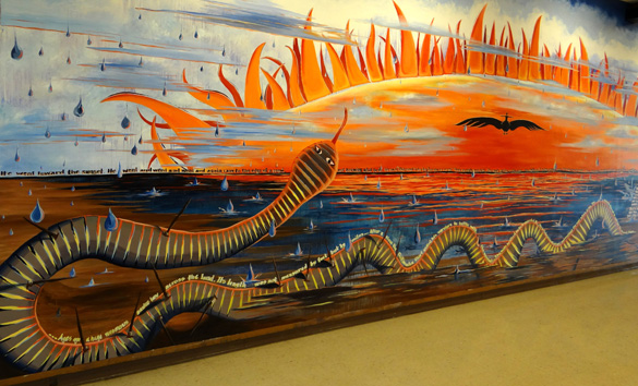 Chitimacha Water Legends Mural created by Chitimacha Tribal artist Sarah Sense, with CTS students.